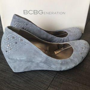 BCBGeneration Trinity gray rhinestone wedges